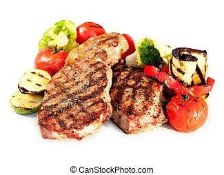manzo, sopra, fondo, verdura, bistecca, cotto ferri, bianco