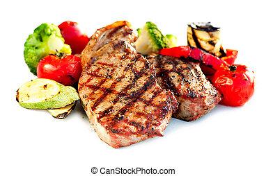 manzo, verdura, fondo, cotto ferri, bianco, bistecca, sopra