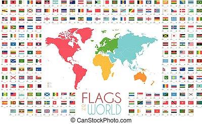 mappa, 204, illustrazione, vettore, bandiere, mondo, continenti