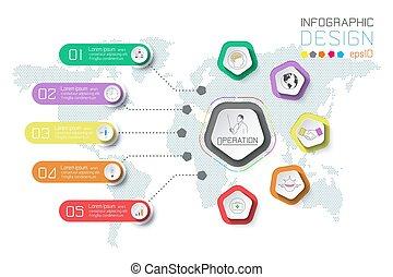 mappa, affari, etichette, fondo., infographic, mondo