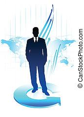 mappa, affari, giovane, fondo, mondo, uomo