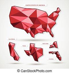 mappa, affari, isolato, bianco, geografico, rosso