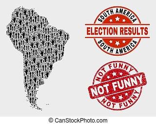 mappa, afflizione, divertente, collage, francobollo, sigillo, non, america, scheda elettorale, sud