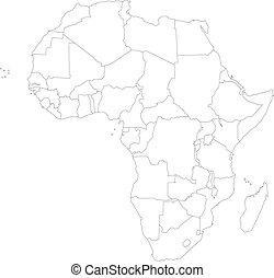 mappa, africa, contorno