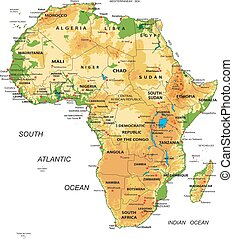 mappa, africa-physical