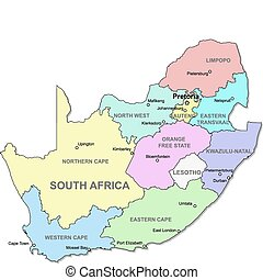 mappa, africa, sud