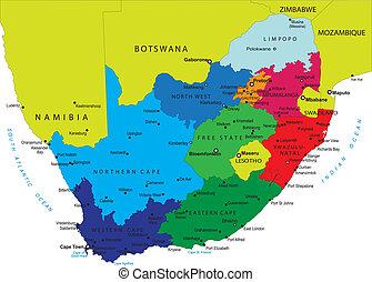 mappa, africa, sud, politico