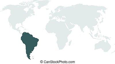 mappa, alto, ameri, illuminazione, mondo, sud