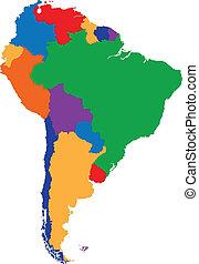 mappa, america, colorito, sud