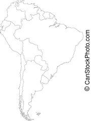 mappa, america, contorno, sud