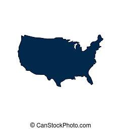 mappa, america, fondo, icona, bianco, appartamento