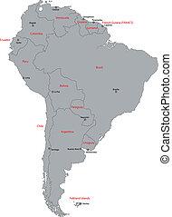mappa, america, grigio, sud