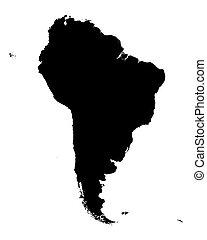 mappa, america, nero, sud