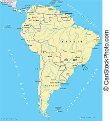 mappa, america, politico, sud