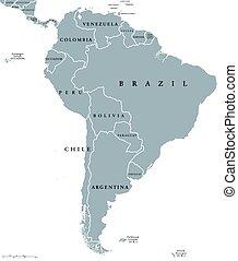 mappa, america, sud, paesi
