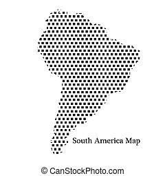 mappa, america, sud, puntino