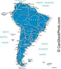 mappa, america, sud, strada