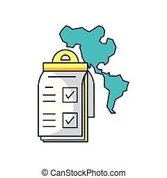 mappa, americano, appunti, continente, lista