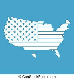 mappa, americano, bianco, icona