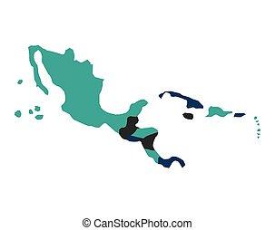 mappa, americano, centrale, isolato, icona