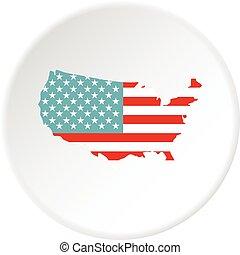 mappa, americano, cerchio, icona