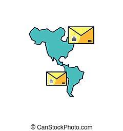 mappa, americano, continente, buste, posta