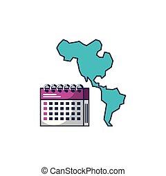 mappa, americano, continente, calendario, promemoria