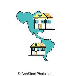 mappa, americano, continente, facciate, case
