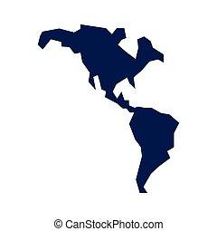 mappa, americano, continente, icona