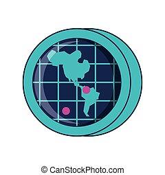 mappa, americano, continente, posizione, radar