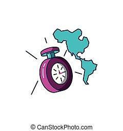 mappa, americano, cronometro, continente, tempo