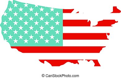 mappa, americano, isolato, icona