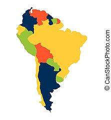mappa, americano, isolato, sud, icona