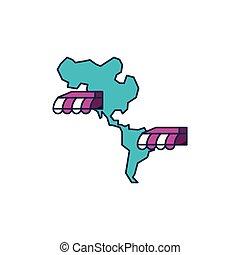 mappa, americano, negozi, continente, parasole