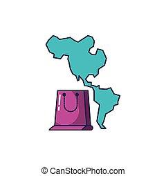 mappa, americano, shopping, continente, borsa