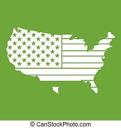 mappa, americano, verde, icona
