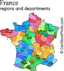 mappa, amministrativo, francia