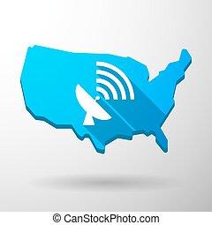 mappa, antenna, stati uniti, icona