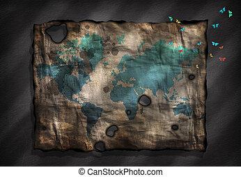 mappa, antico, colorito, piccolo, falene, carta, mondo