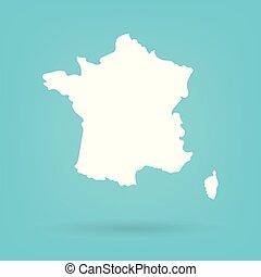 mappa, astratto, bianco, francia