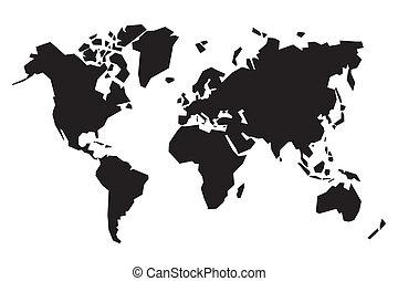 mappa, astratto, nero, mondo