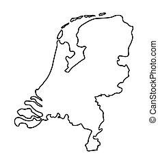 mappa, astratto, paesi bassi, nero