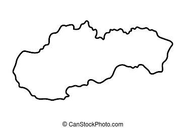 mappa, astratto, slovacchia, nero