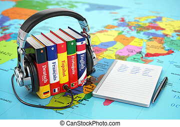 mappa, audiobooks, concept., cuffie, lingue, libri, cultura, online., world.
