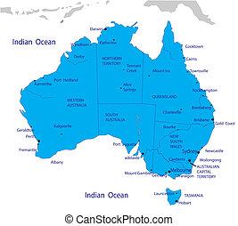 mappa, australia, politico