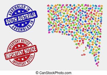 mappa, avviso, australia, grunge, modulo, francobolli, importante, montato, sud