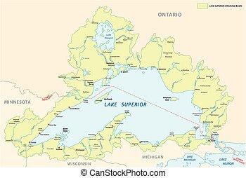 mappa, bacino, lago superiore
