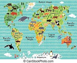 mappa, bambini, bambini, animale, mondo
