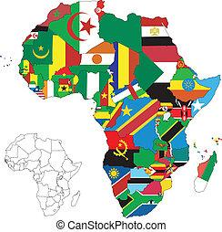 mappa, bandiera, africa, continente
