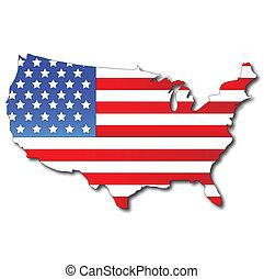 mappa, bandiera, americano, stati uniti